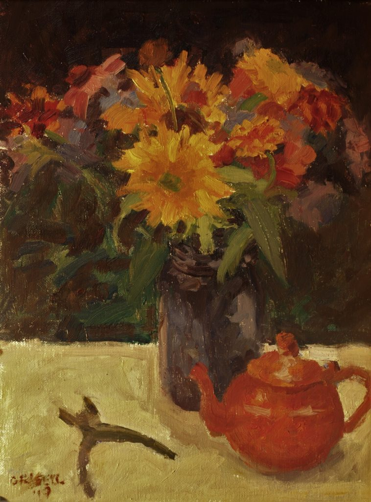 Orange Teapot, Oil on Canvas on Panel, 16 x 12 Inches, by Susan Grisell, $300