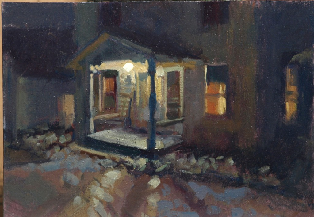 Porch Light, Oil on Canvas on Panel, 12 x 16 Inches, by Susan Grisell, $275