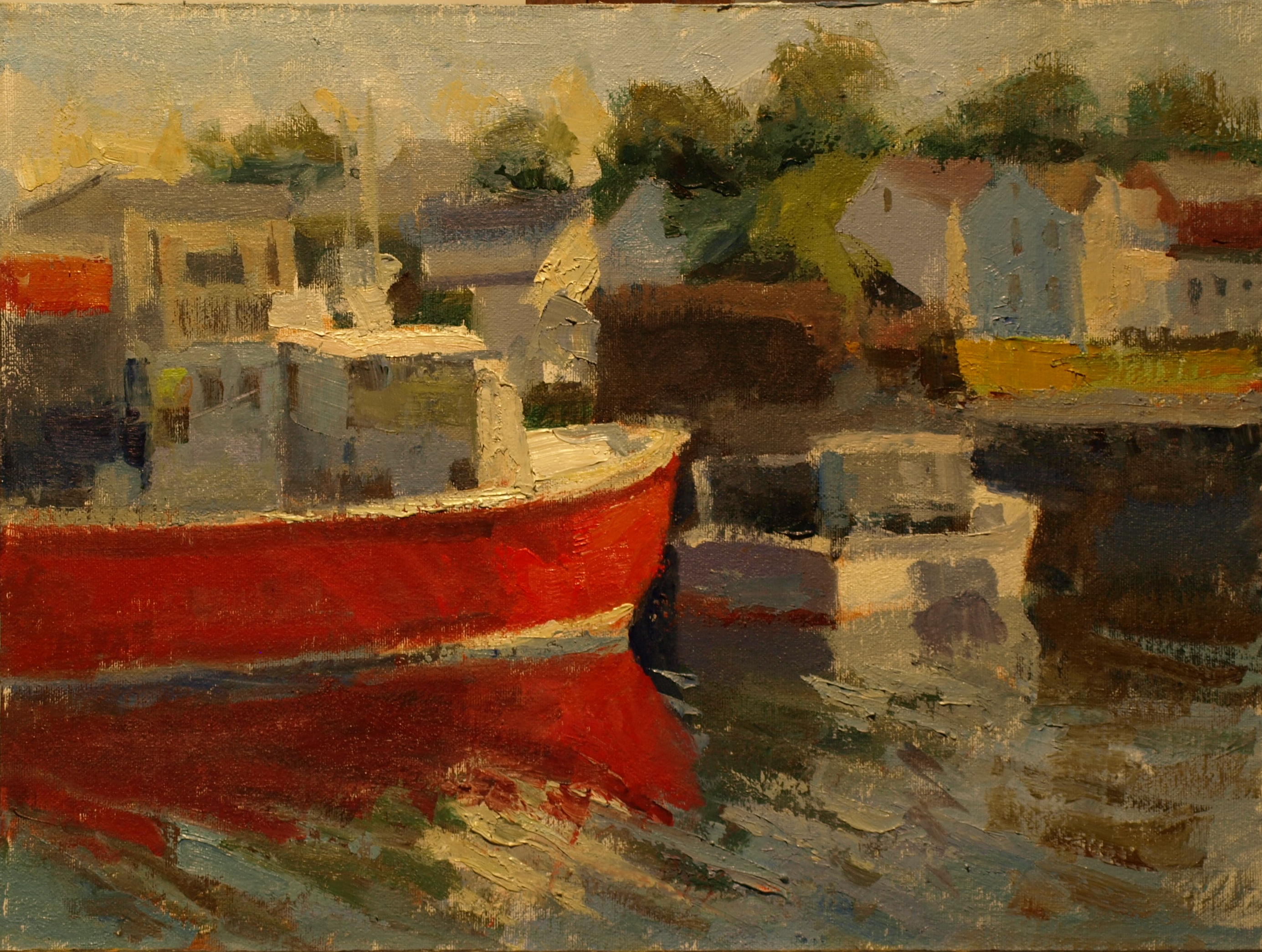 Red Boat, Oil on Canvas on Panel, 12 x 16 Inches, by Susan Grisell, $300