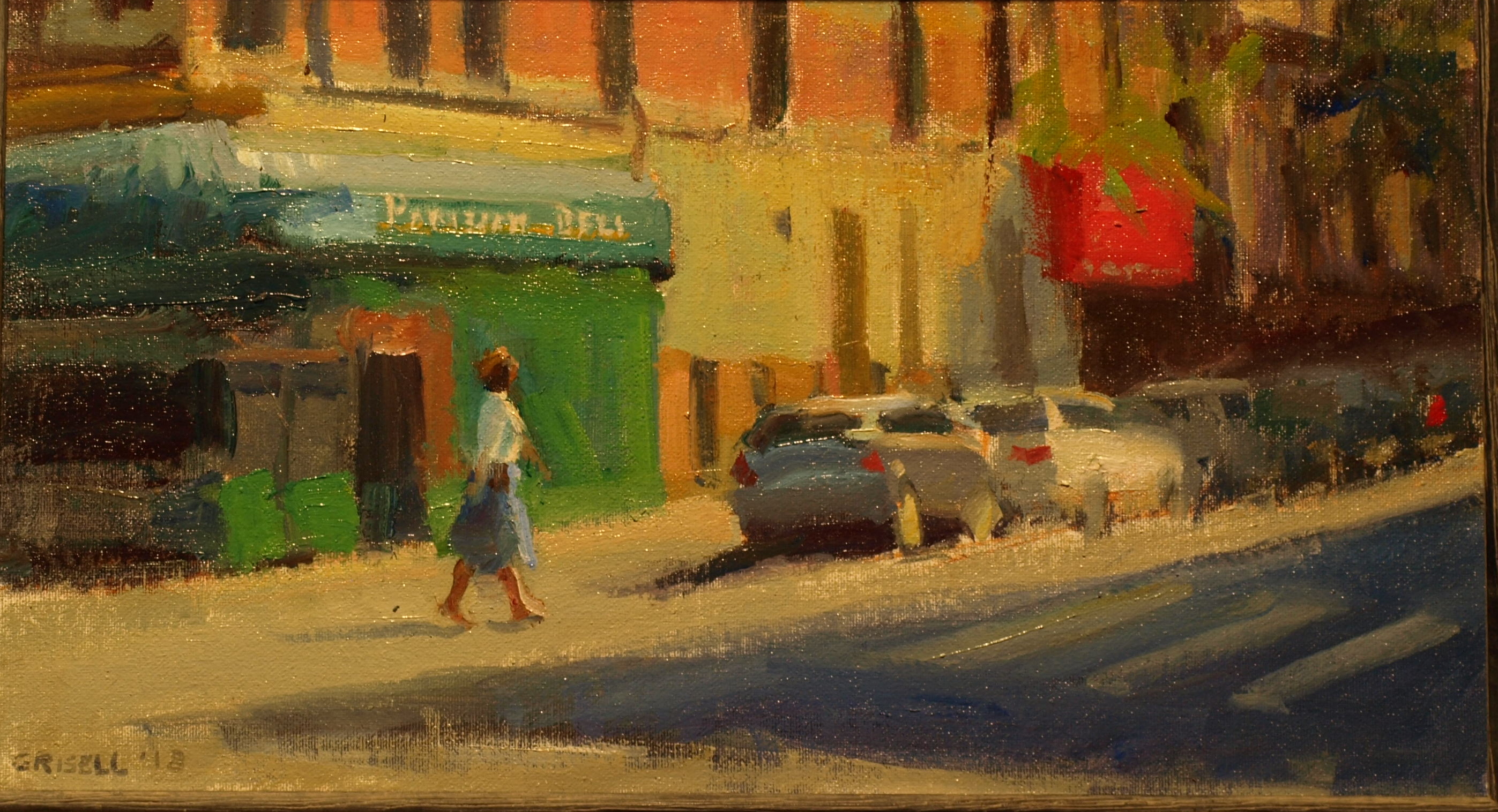 Corner Deli, Oil on Canvas on Panel, 9 x 16 Inches, by Susan Grisell, $275