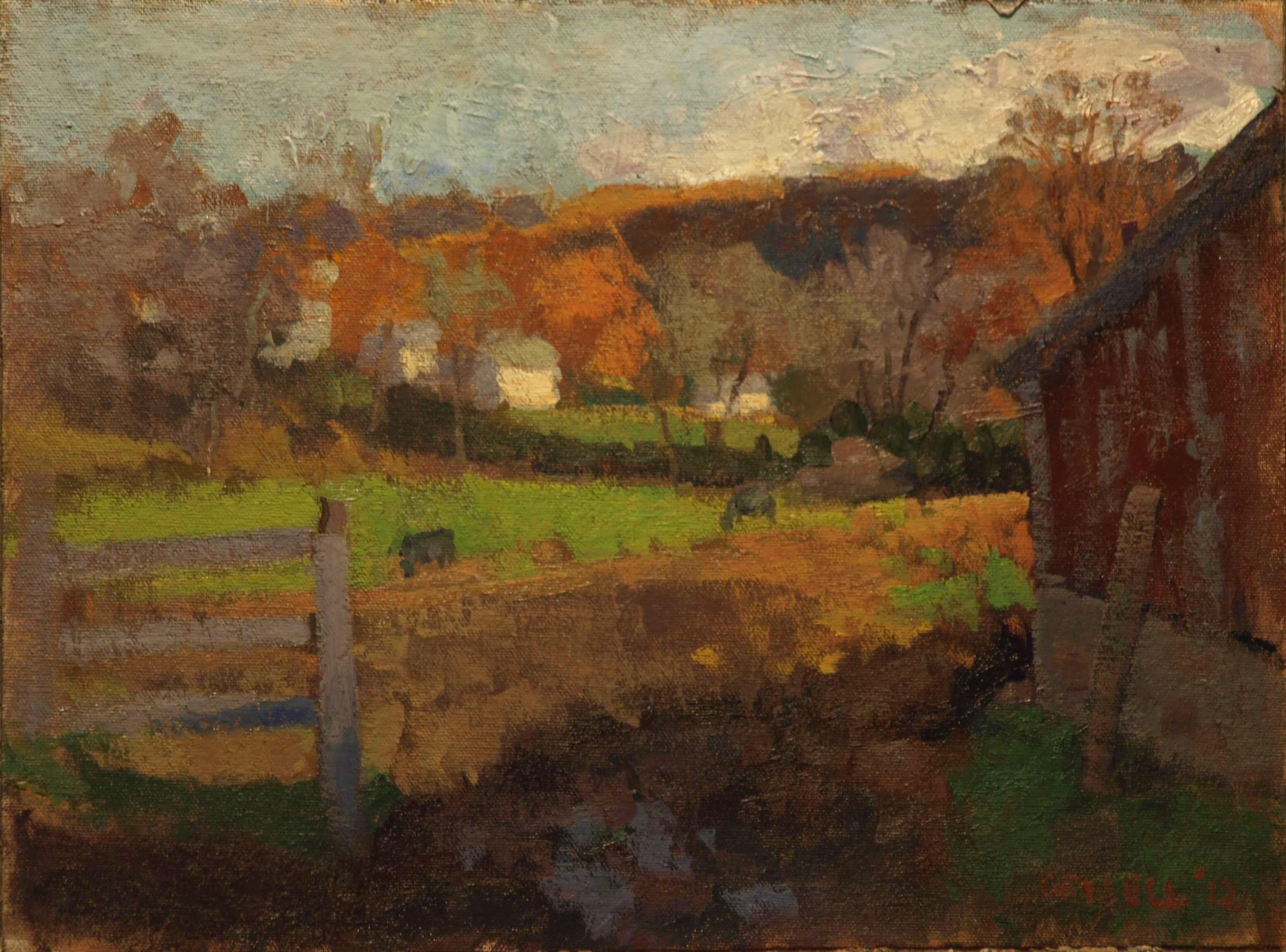 Farm and Village, Oil on Canvas on Panel, 12 x 16 Inches, by Susan Grisell, $275