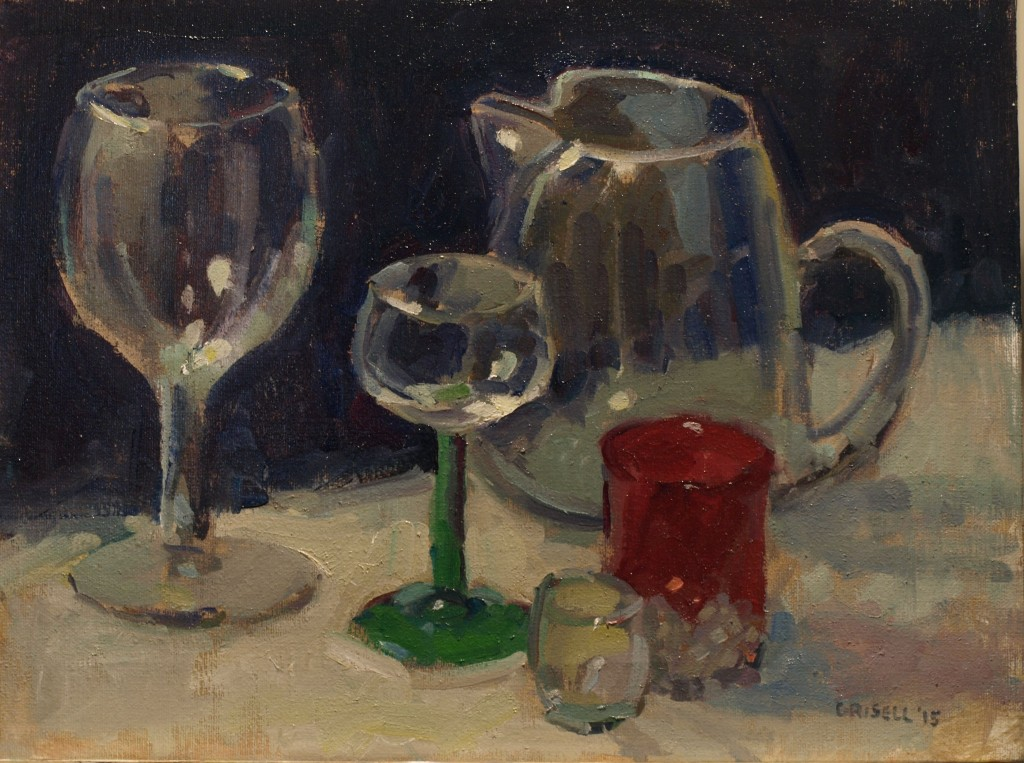 Glassware, Oil on Canvas, 12 x 16 Inches, by Susan Grisell, $295