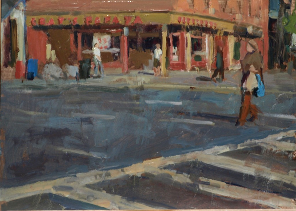 Gray's Papaya, Oil on Panel, 12 x 16 Inches, by Susan Grisell, $275