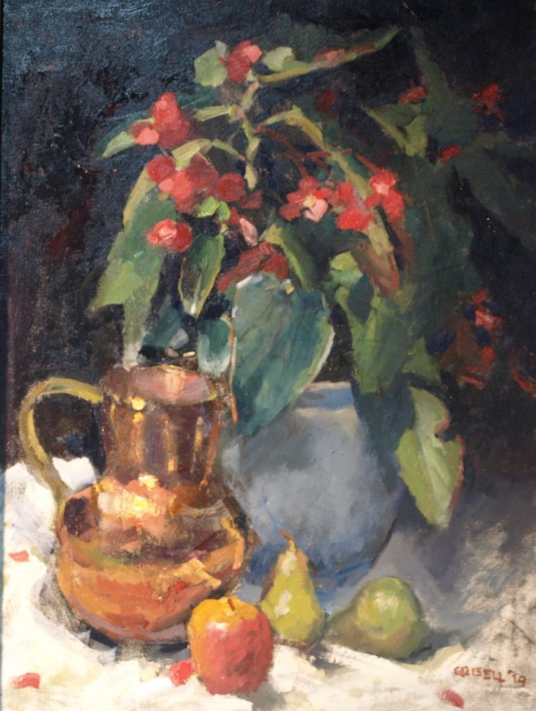 Red Begonia, Oil on Canvas, 24 x 18 Inches, by Susan Grisell, $750