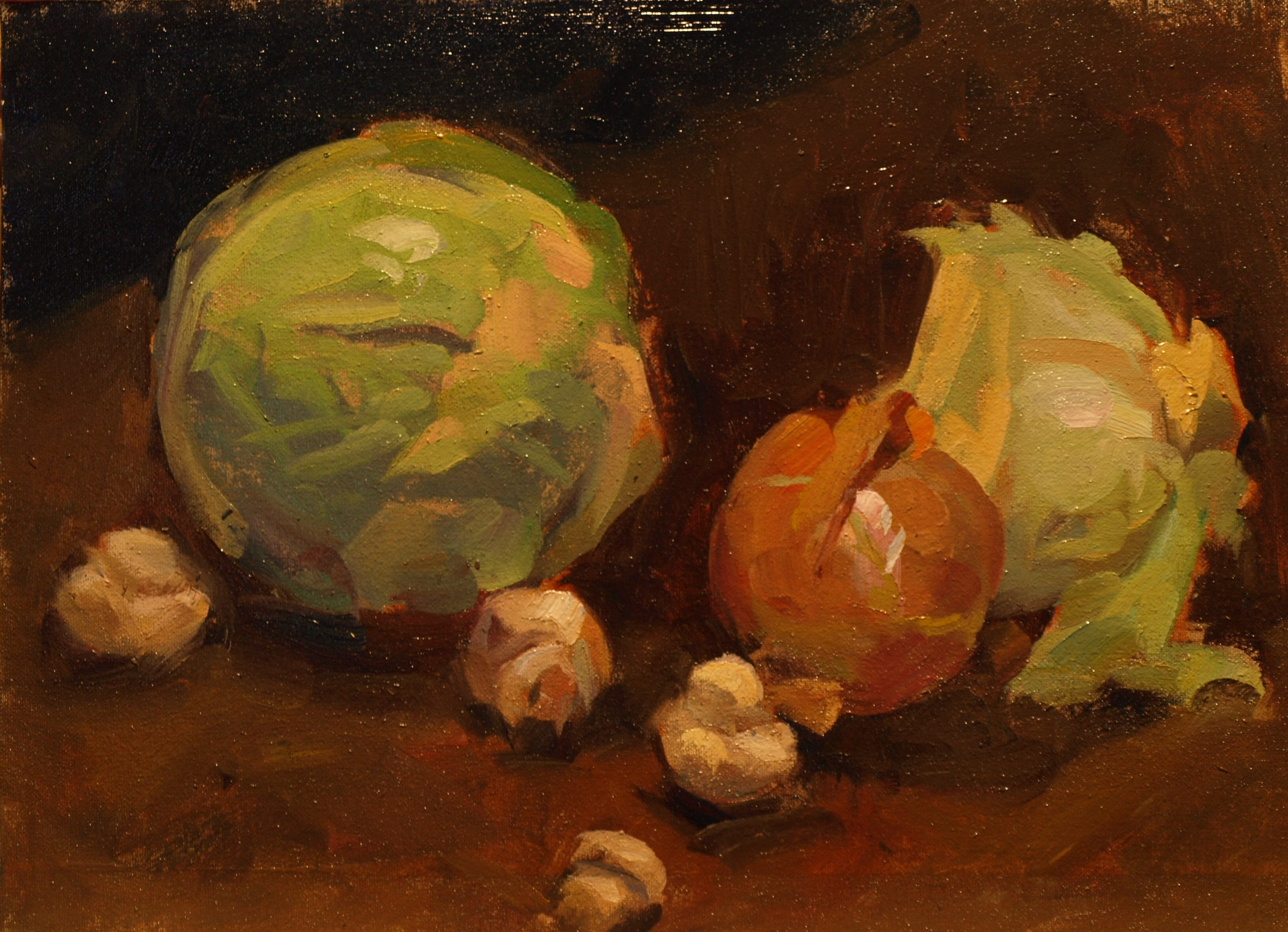 Cabbage Onions Mushrooms, Oil on Canvas on Panel, 12 x 16 Inches, by Susan Grisell, $325