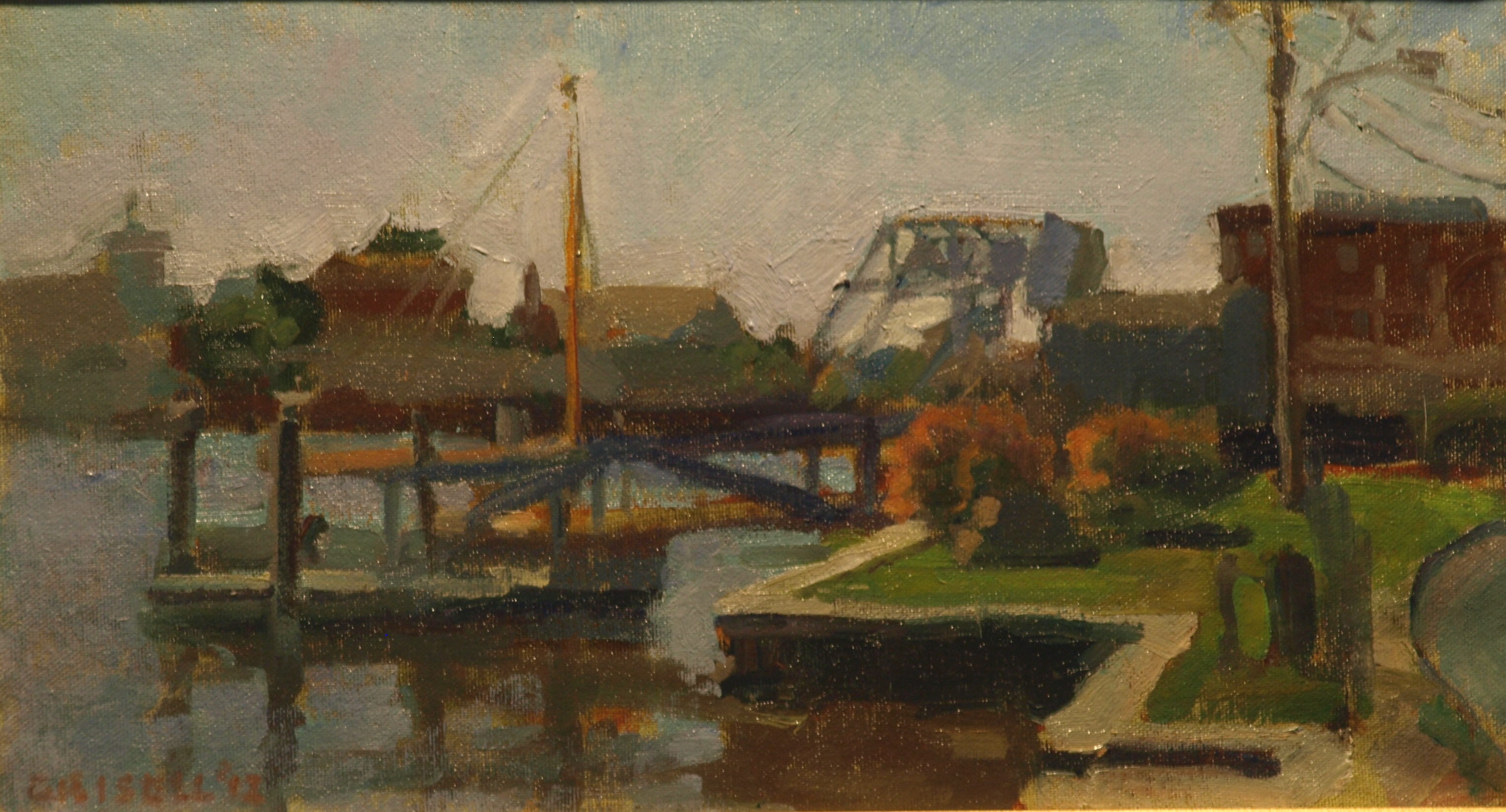 Draw Bridge, Mystic River, Oil on Canvas on Panel, 9 x 16 Inches, by Susan Grisell, $250