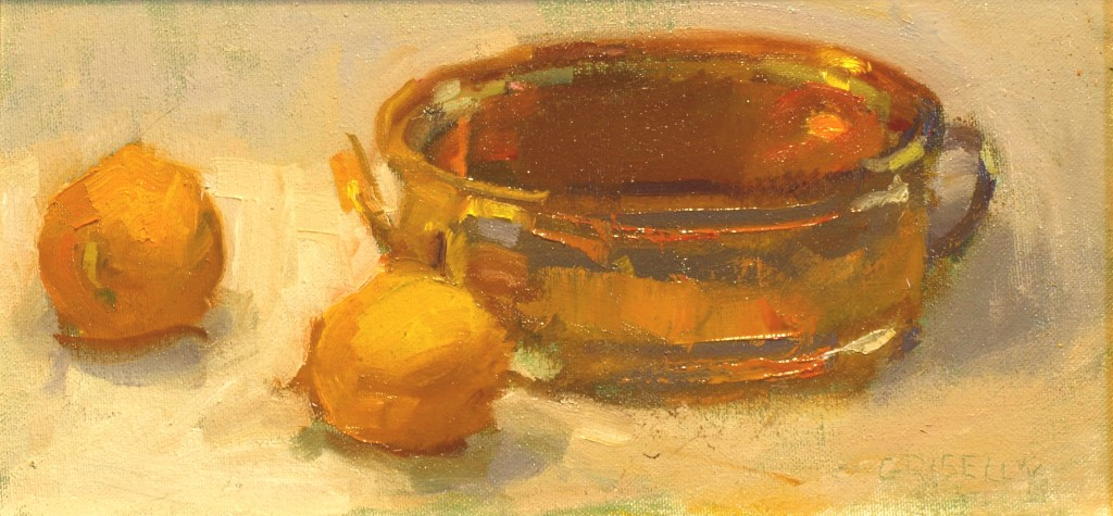 Lemon and Brass, Oil on Canvas on Panel, 6 x 12 Inches, by Susan Grisell, $200