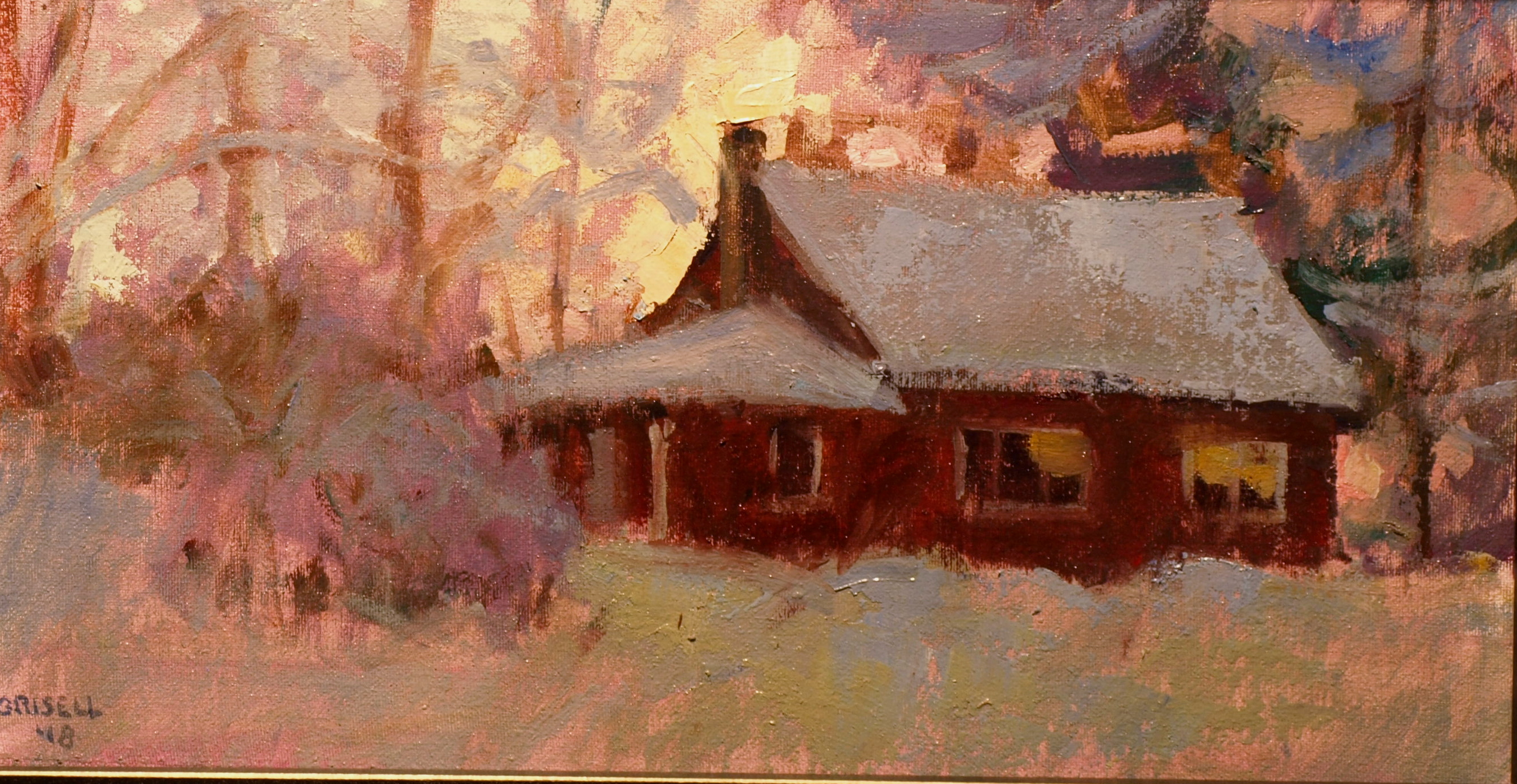 My House in Snow, Oil on Canvas on Panel, 9 x 16 Inches, by Susan Grisell, $275