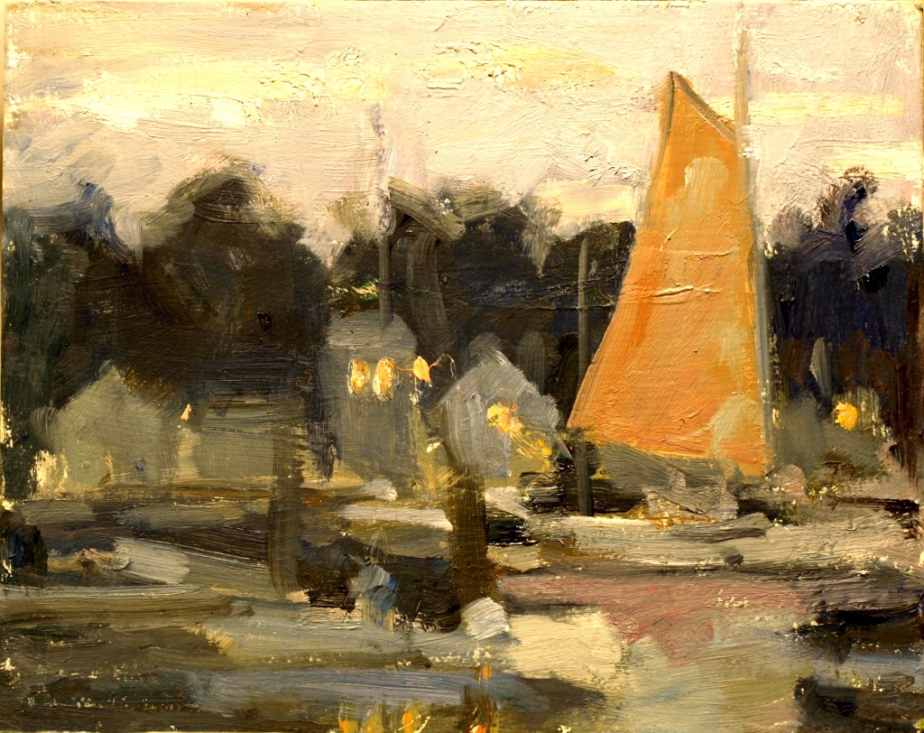 Sailboat at Dusk, Oil on Panel, 8 x 10 Inches, by Susan Grisell, $200