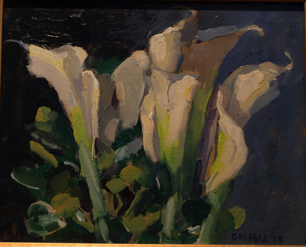 White Callas, Oil on Panel, 8 x 10 Inches, by Susan Grisell, $200