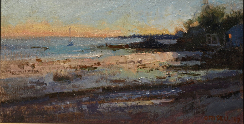 Gloucester Shore, Oil on Canvas on Panel, 9 x 16 Inches, by Susan Grisell, $275