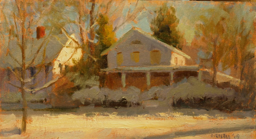 Snow on the Green, Oil on Canvas on Panel, 9 x 16 Inches, by Susan Grisell, $275