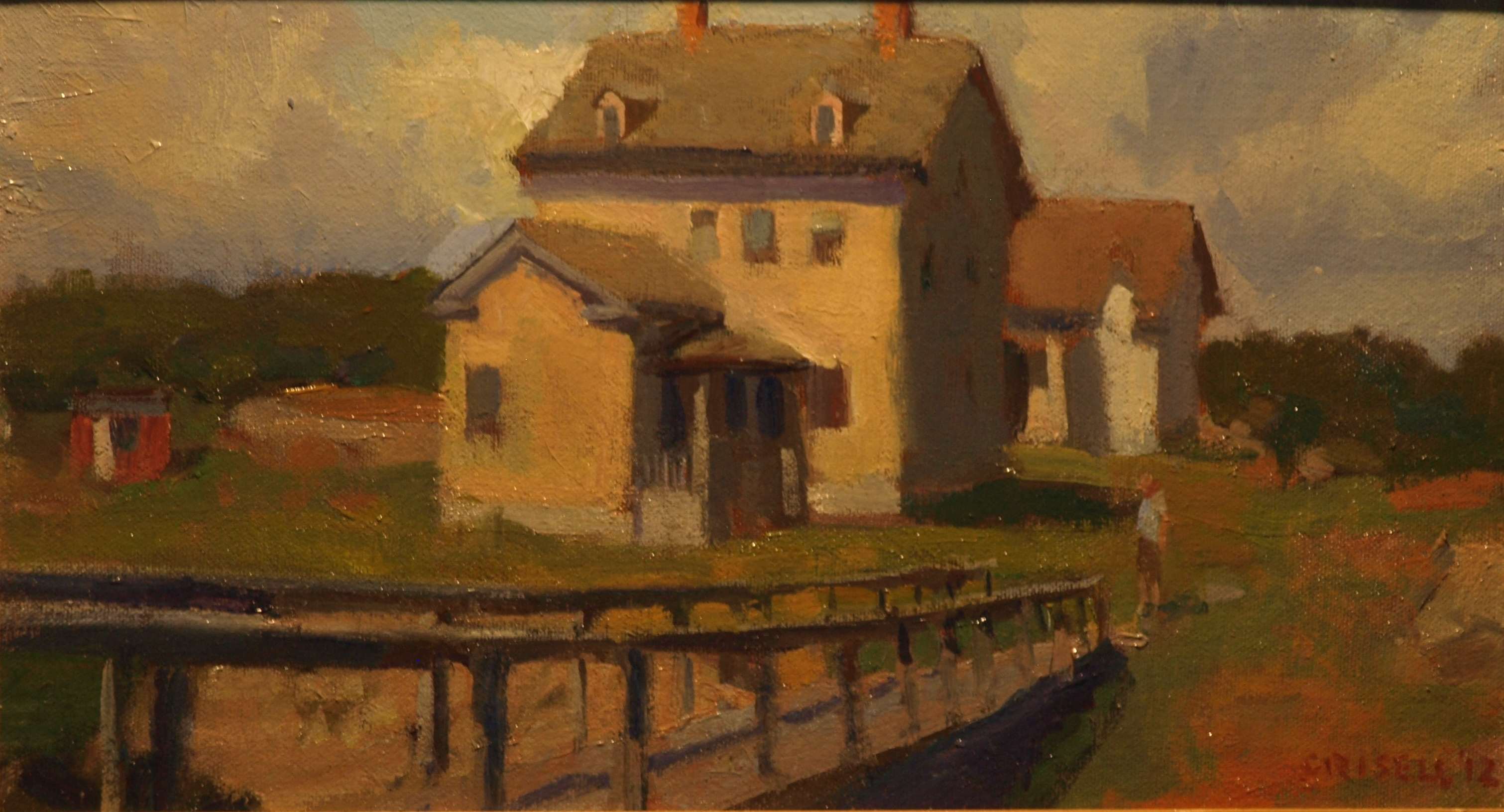 Thatcher Island Building, Oil on Canvas on Panel, 9 x 16 Inches, by Susan Grisell, $250