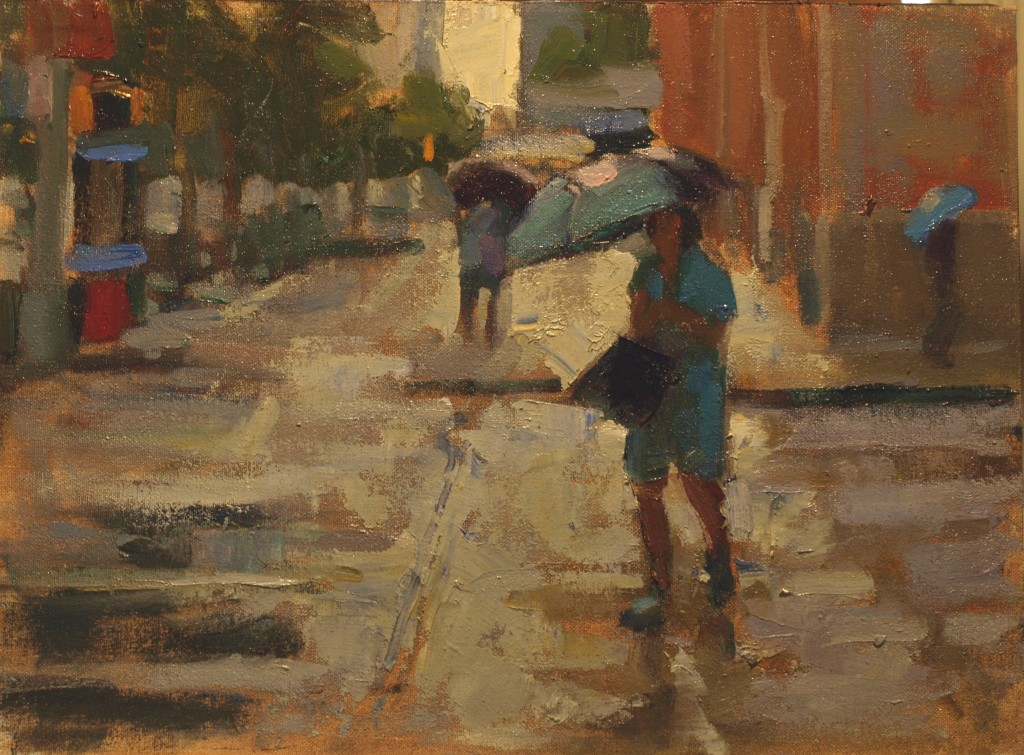Umbrella -- Ninth and Fifth, Oil on Canvas on Panel, 12 x 16 Inches, by Susan Grisell, $350