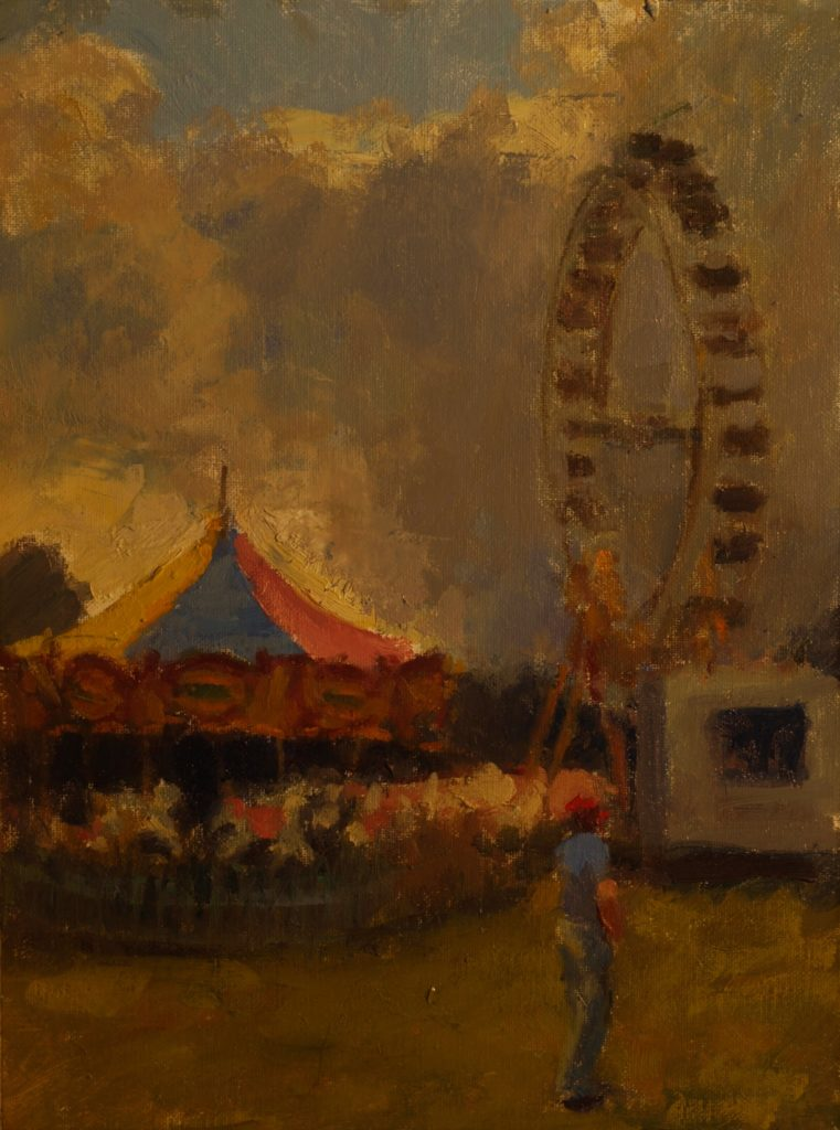 Carnival, Oil on Canvas on Panel, 16 x 12 Inches, by Susan Grisell, $300