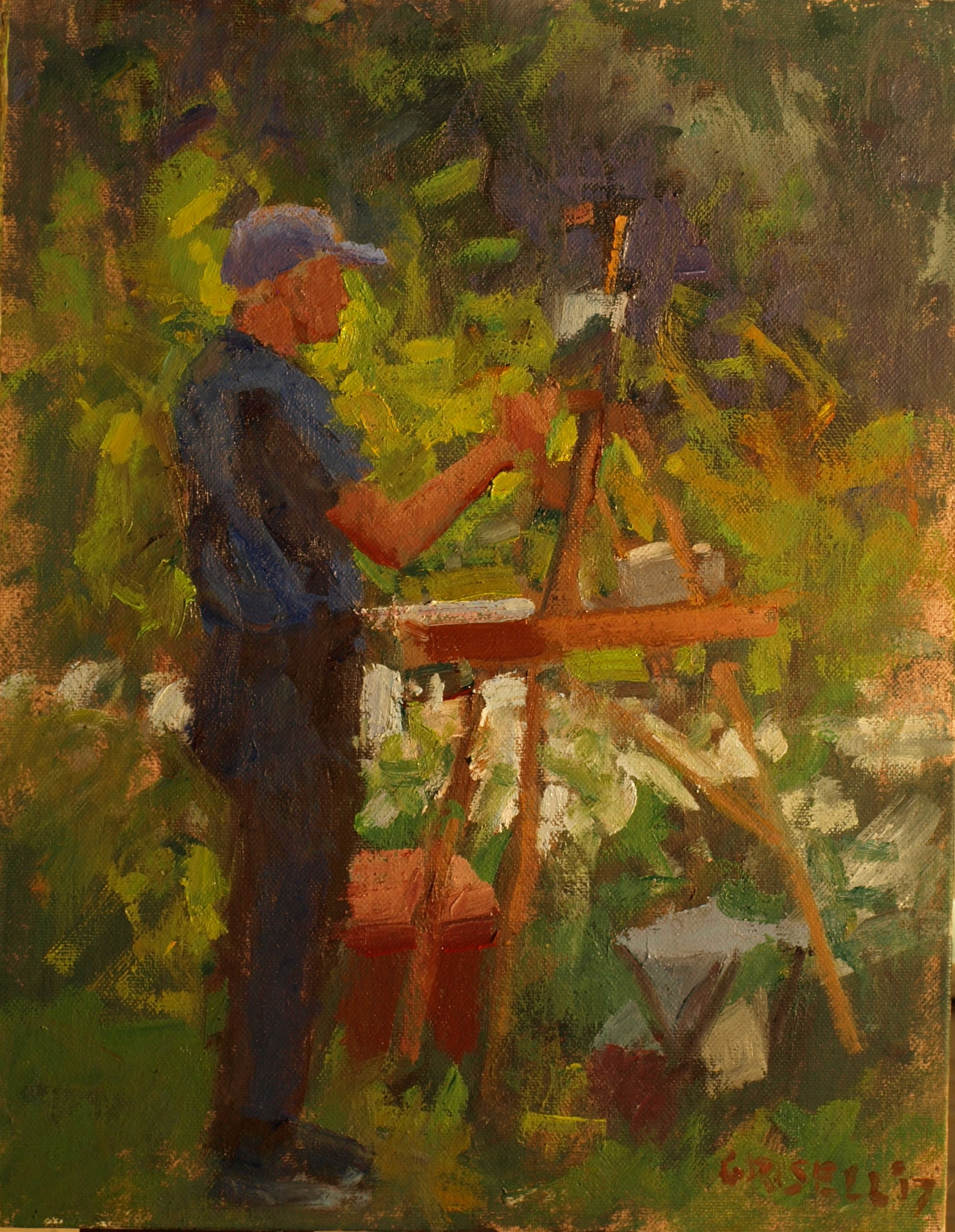 Chris Painting, Oil on Panel, 14 x 11 Inches, by Susan Grisell, $275
