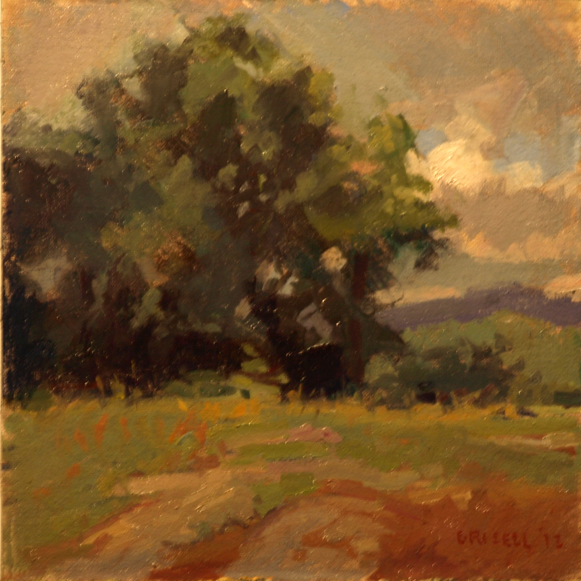 Rocky Pasture, Oil on Canvas on Panel, 12 x 12 Inches, by Susan Grisell, $250