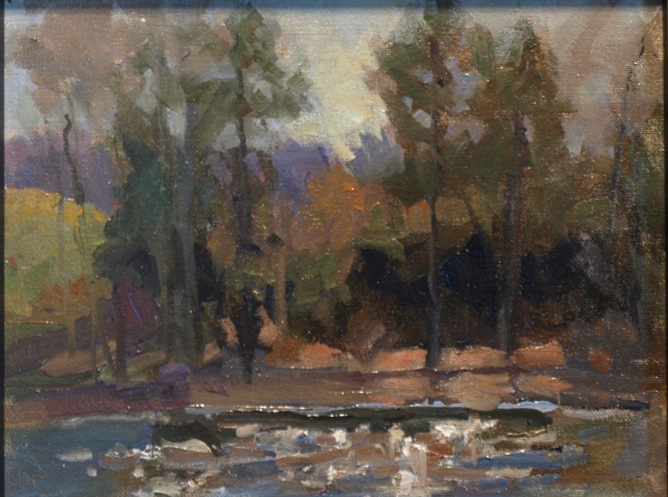 Sparkling River Oil on Canvas on Panel, 8 x 10 Inches, by Susan Grisell, $175