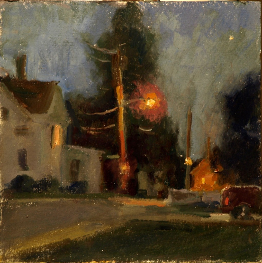 Amesbury Evening, Oil on Canvas on Panel, 12 x 12 Inches, by Susan Grisell, $250
