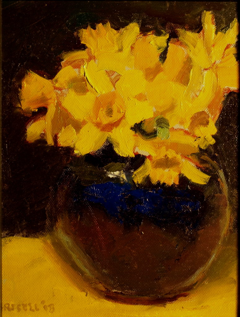 Daffodils in Vase, Oil on Panel, 10 x 8 Inches, by Susan Grisell, $200