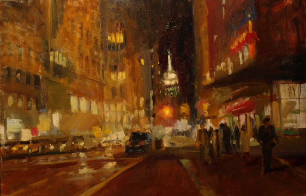December Evening - Fifth Avenue, Oil on Canvas, 24 x 36 Inches, by Susan Grisell, $1300