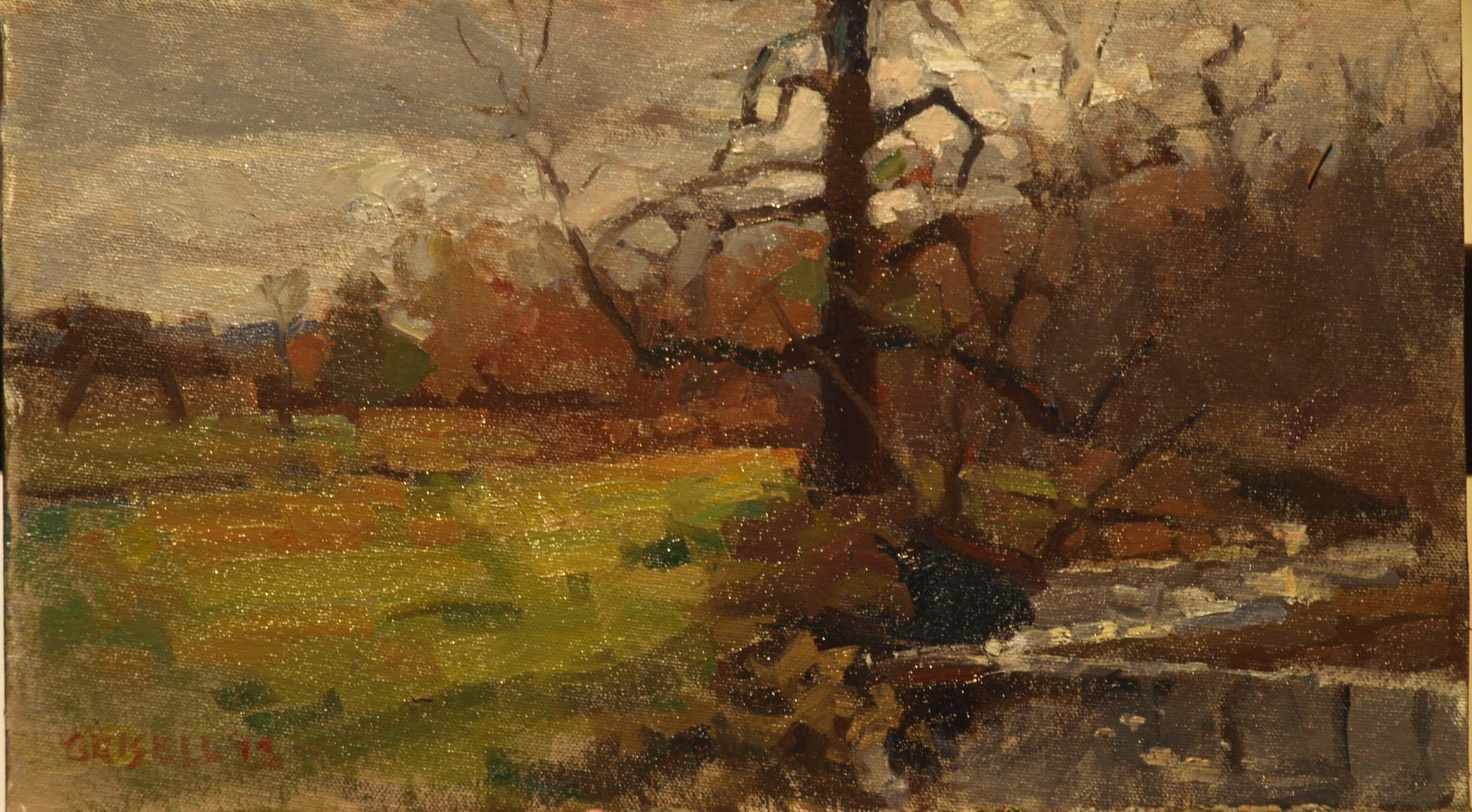 Gnarled Tree, Oil on Canvas on Panel, 9 x 16 Inches, by Susan Grisell, $250