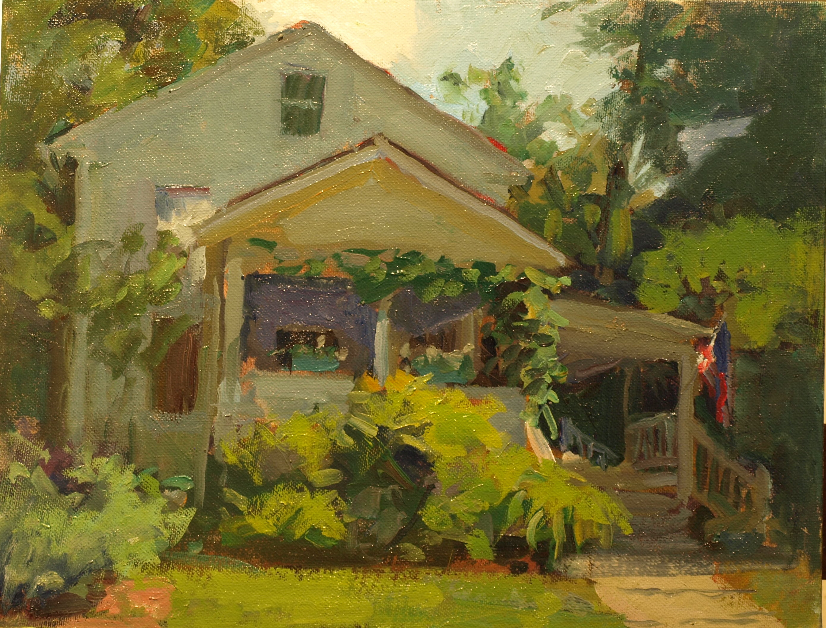 House in Shadow, Oil on Panel, 11 x 14 Inches, by Susan Grisell, $275