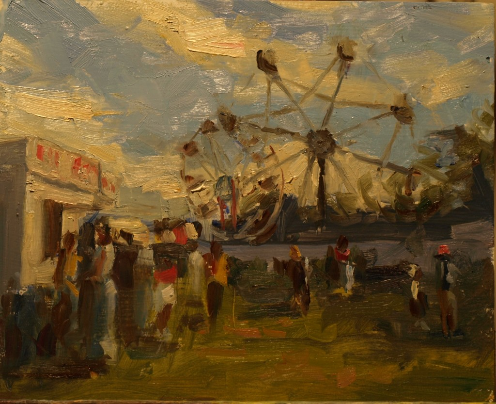 Midway, Oil on Panel, 8 x 10 Inches, by Susan Grisell, $200