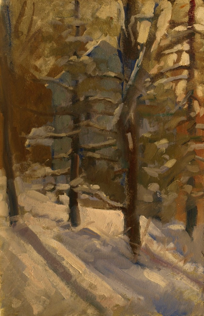 Morning Snow, Oil on Canvas on Panel, 18 x 12 Inches, by Susan Grisell, $325