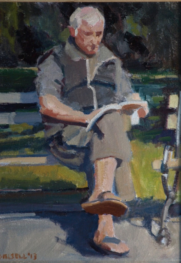 Park at Midday, Oil on Canvas on Panel, 16 x 12 Inches, by Susan Grisell, $275