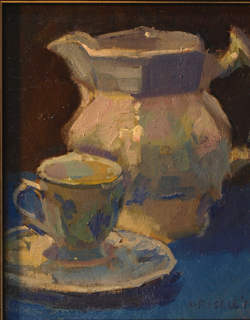 Pitcher and Teacup, Oil on Canvas on Panel, 10 x 8 Inches, by Susan Grisell, $200