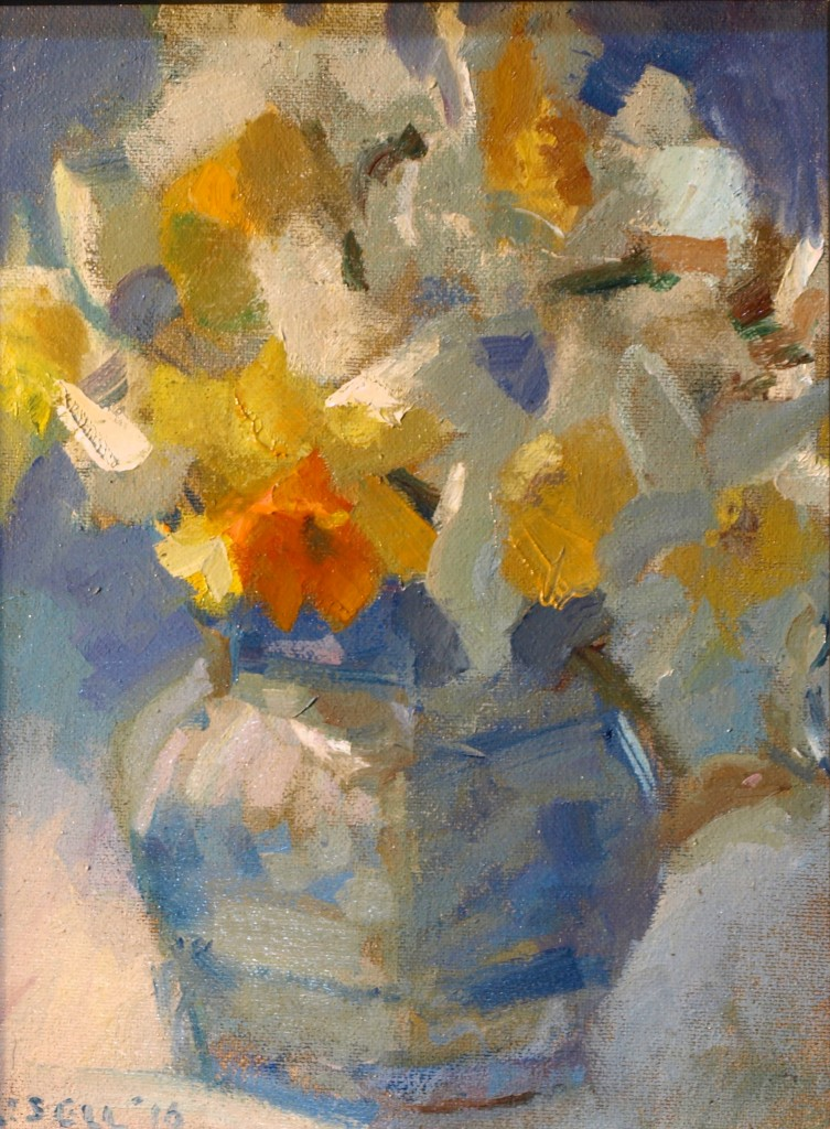 Daffodil Study, Oil on Canvas on Panel, 10 x 8 Inches, by Susan Grisell, $200