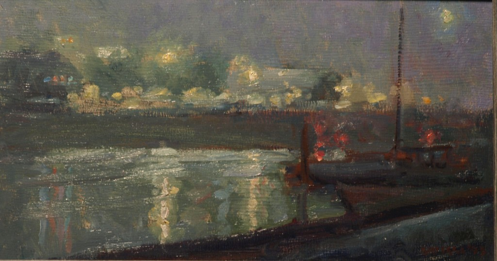 Night - Mystic River, Oil on Canvas on Panel, 9 x 16 Inches, by Susan Grisell, $250