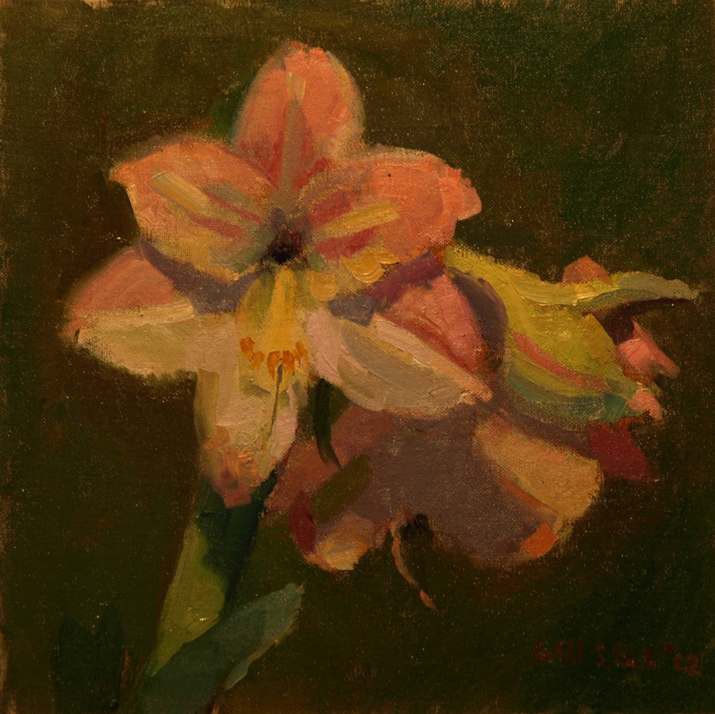 Pink and Green, Oil on Canvas on Panel, 12 x 12 Inches, by Susan Grisell, $250