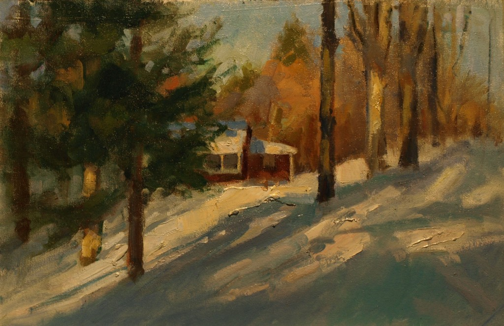 Studio in Snow, Oil on Canvas on Panel, 12 x 18 Inches, by Susan Grisell, $325