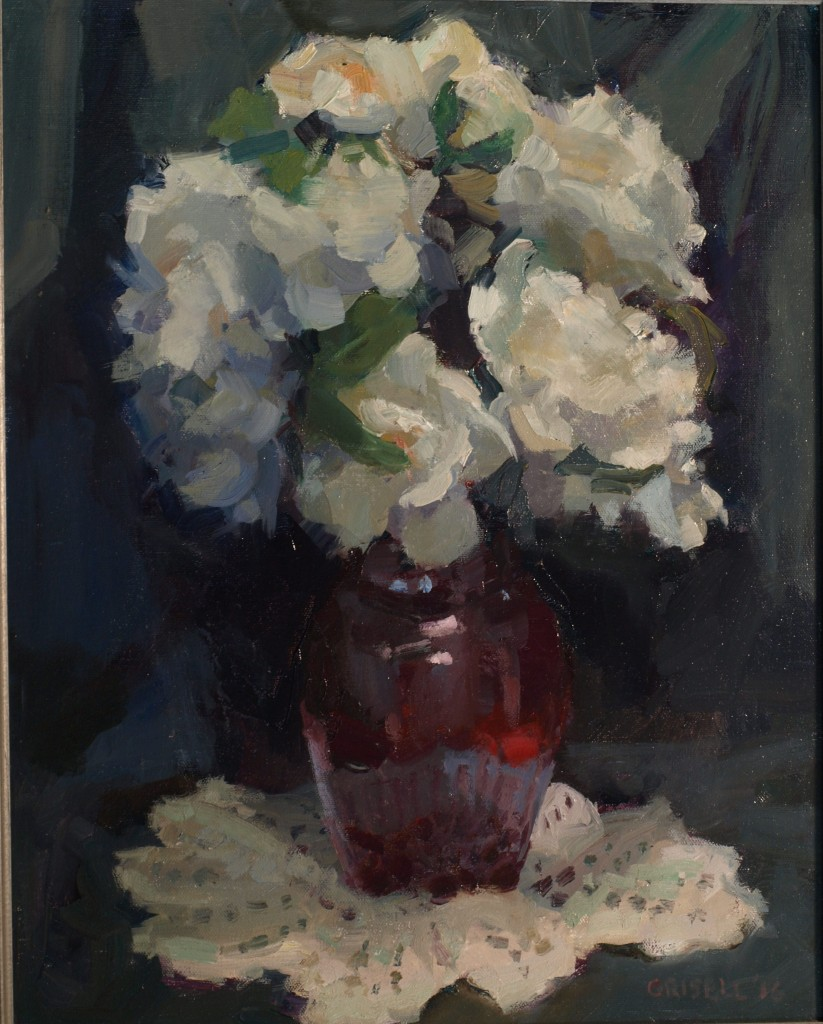 Red Vase, Oil on Canvas, 20 x 16 Inches, by Susan Grisell, $500
