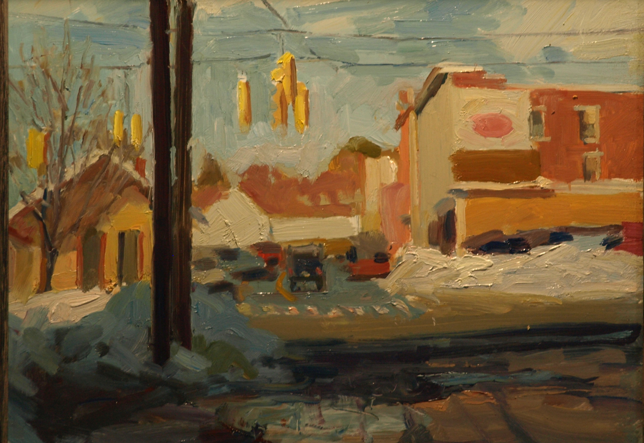 Bridge Street Crossing, Oil on Panel, 12 x 16 Inches, by Susan Grisell, $275