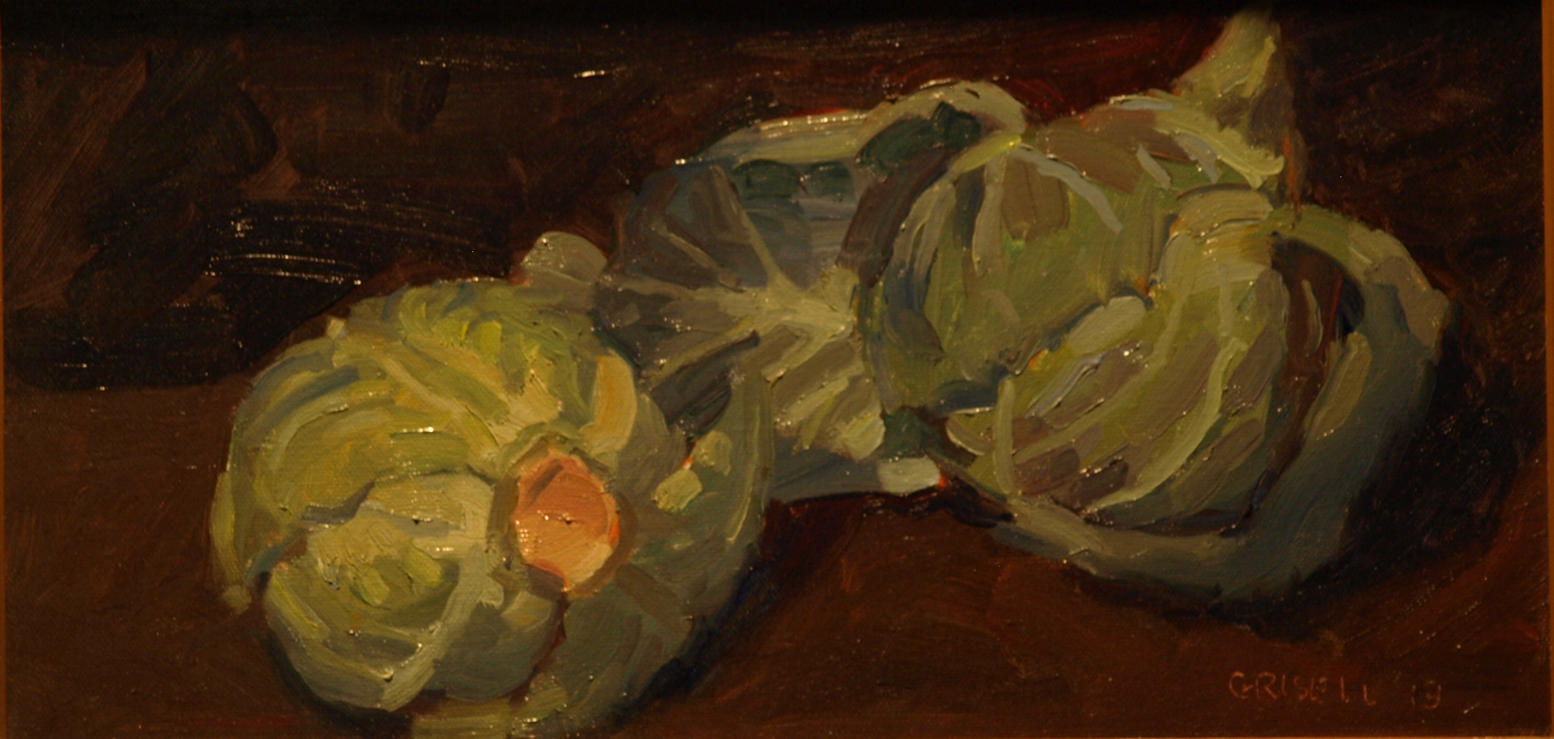 Cabbages, Oil on Canvas, 9 x 16 Inches, by Susan Grisell, $250