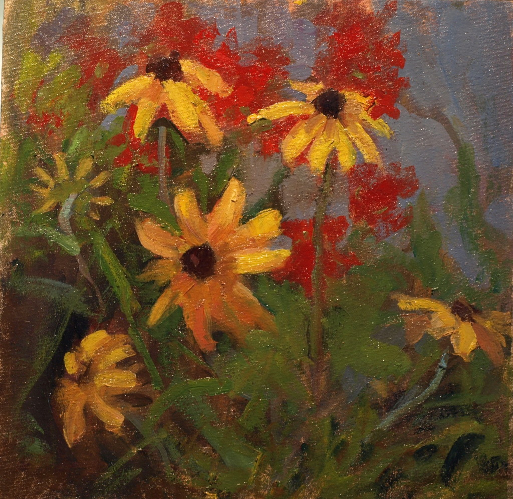 Flower Bed, Oil on Canvas on Panel, 12 x 12 Inches, by Susan Grisell, $275