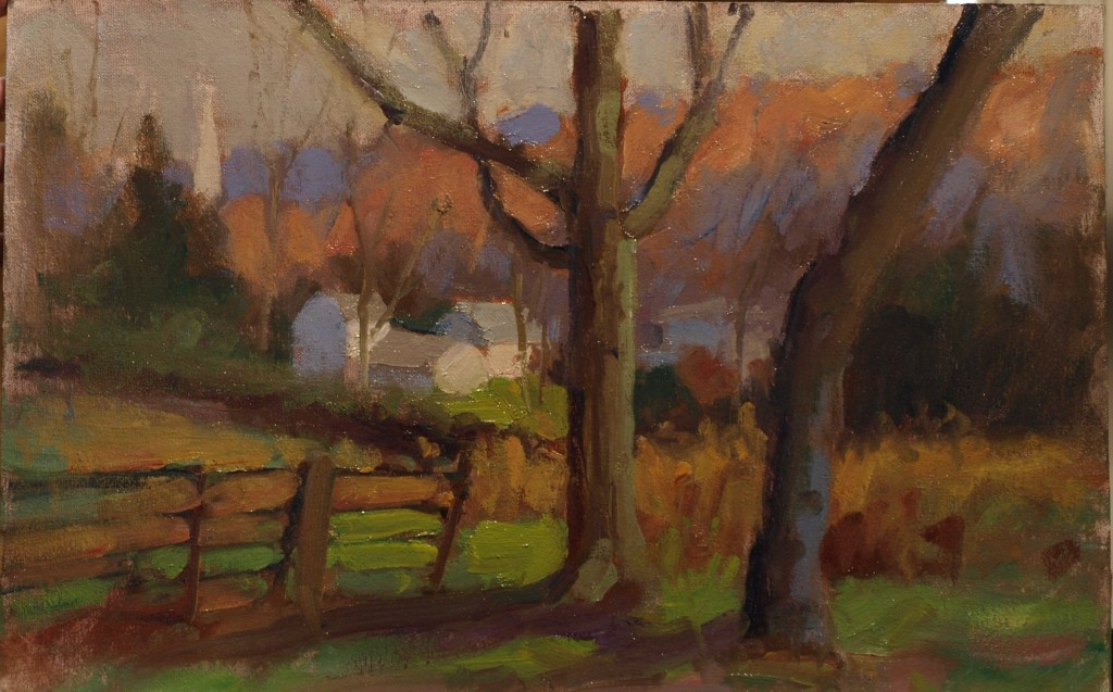 Gaylordsville View, Oil on Canvas on Panel, 12 x 18 Inches, by Susan Grisell, $300