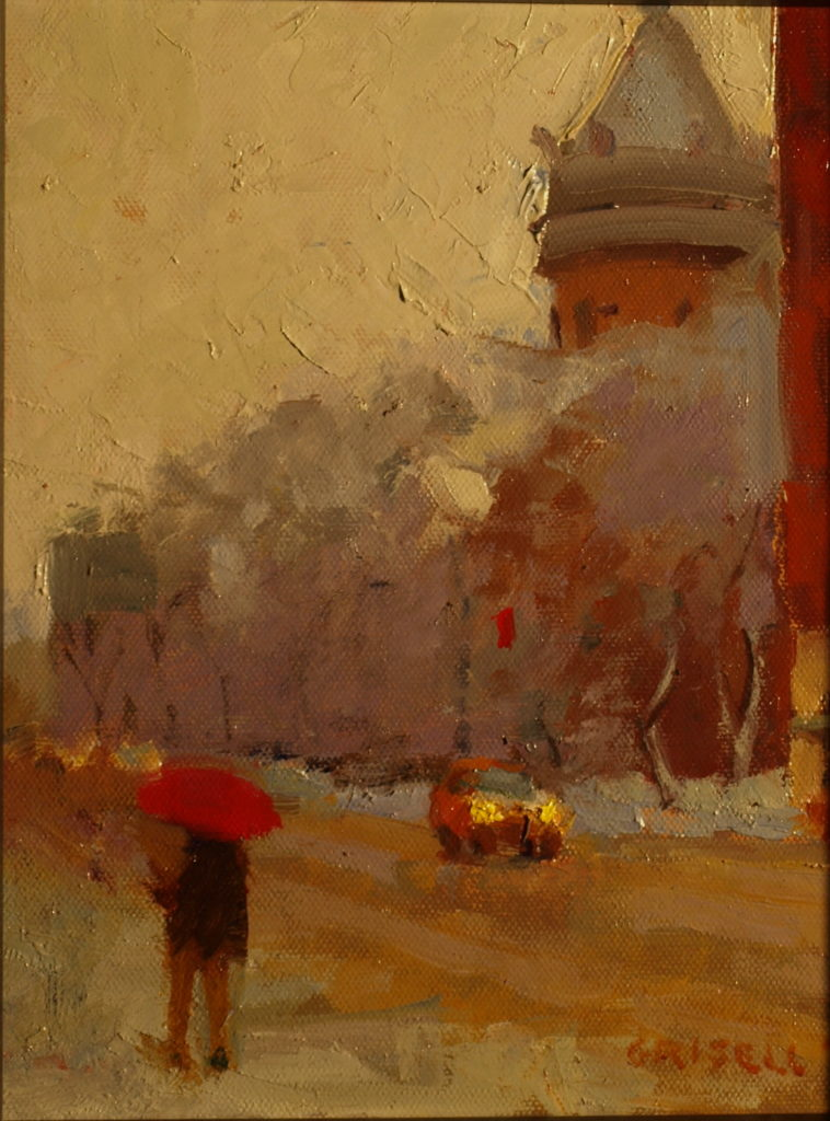 Red Umbrella, Oil on Panel, 10 x 8 Inches, by Susan Grisell, $200