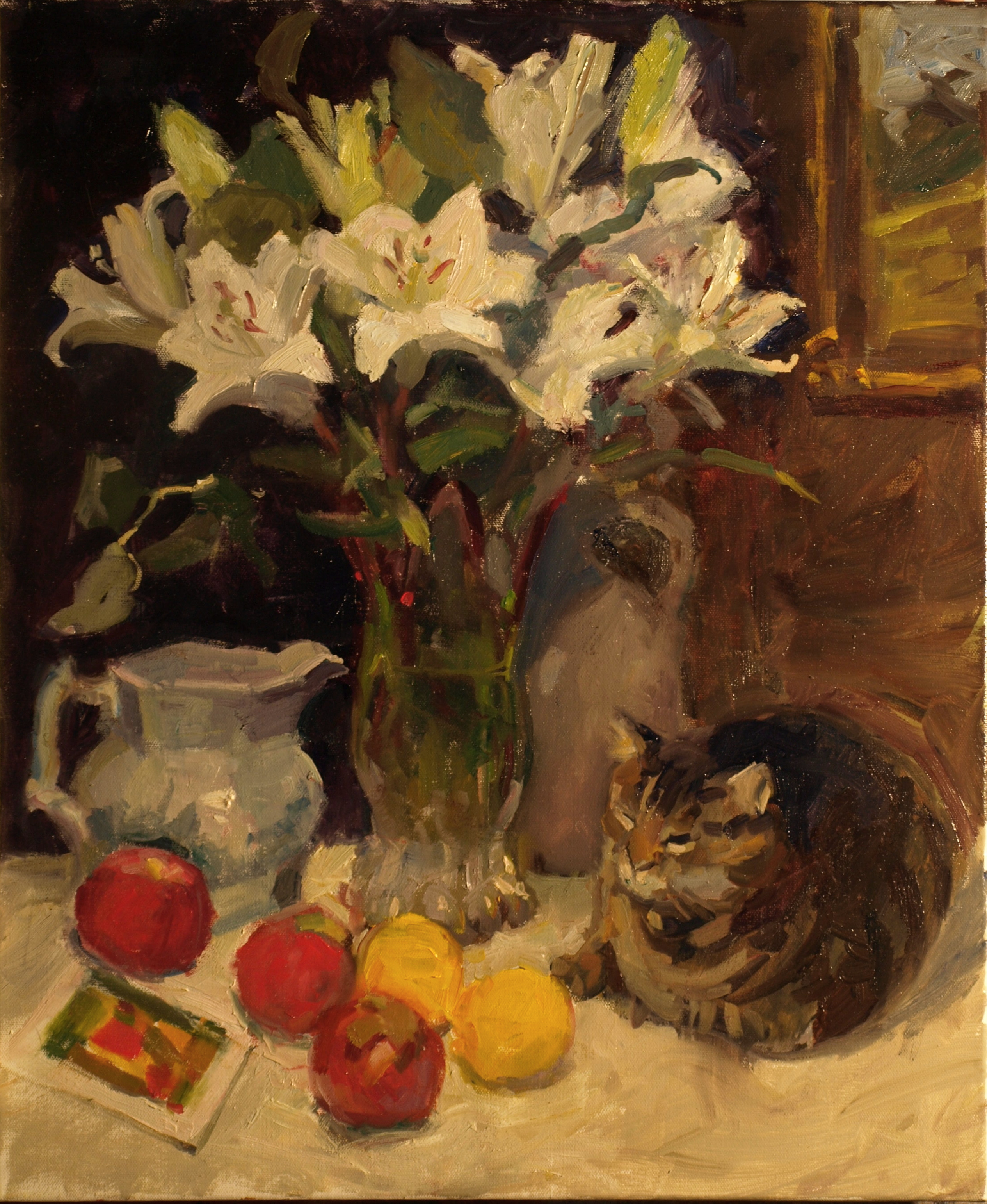 Still Life with Tabby, Oil on Canvas, 24 x 20 Inches, by Susan Grisell, $750
