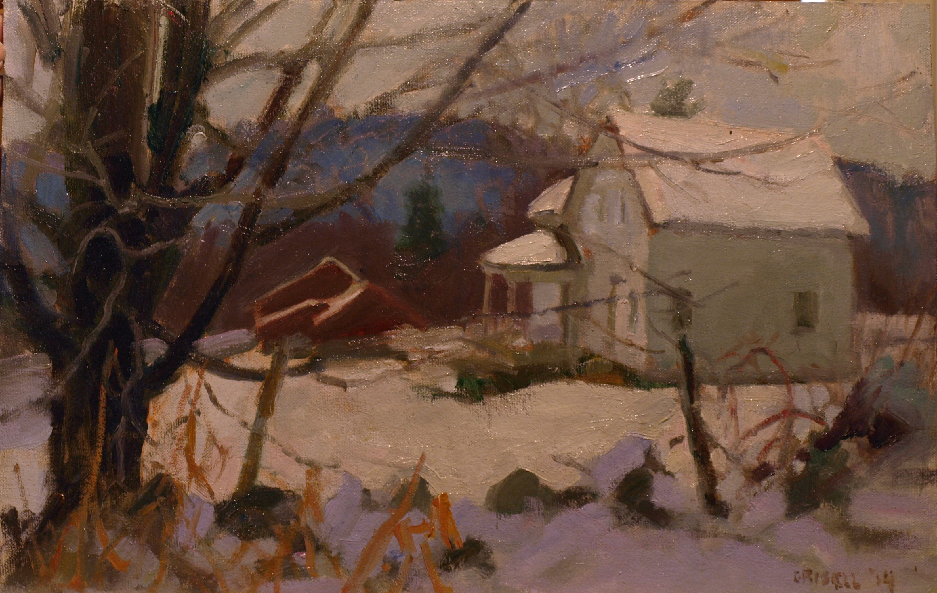 November Snow, Oil on Canvas on Panel, 12 x 18 Inches, by Susan Grisell, $350