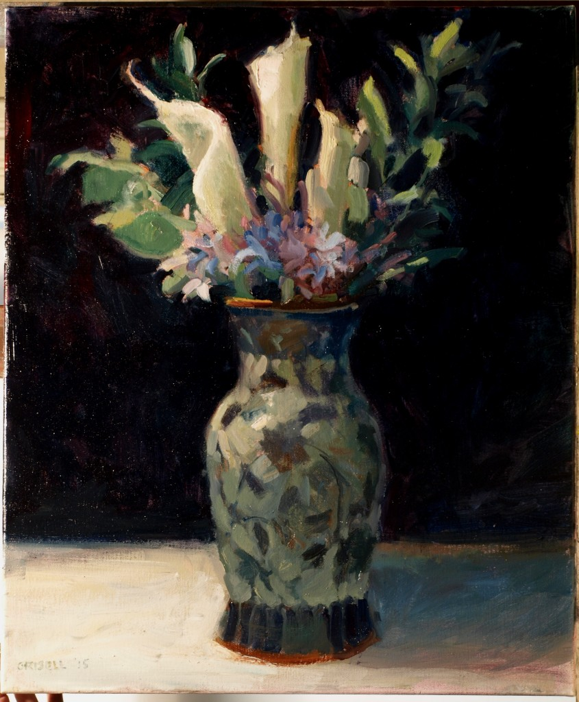 Callas and Porcelain, Oil on Canvas, 24 x 20 Inches, by Susan Grisell, $750
