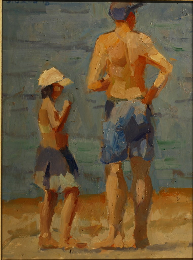 Father and Daughter, Oil on Panel, 10 x 8 Inches, by Susan Grisell, $200