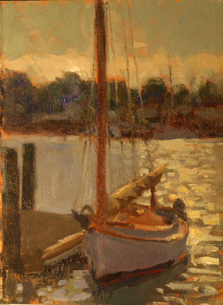 Moored Sailboat, Oil on Canvas on Panel, 16 x 12 Inches, by Susan Grisell, $325