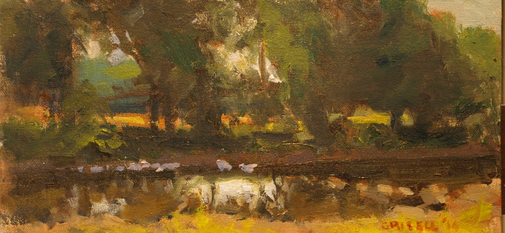 Shepaugh in September, Oil on Canvas on Panel, 6 x 12 Inches, by Susan Grisell, $200
