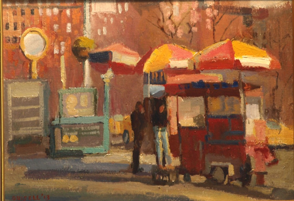 Street Vendor, Oil on Canvas on Panel, 12 x 16 Inches, by Susan Grisell, $275