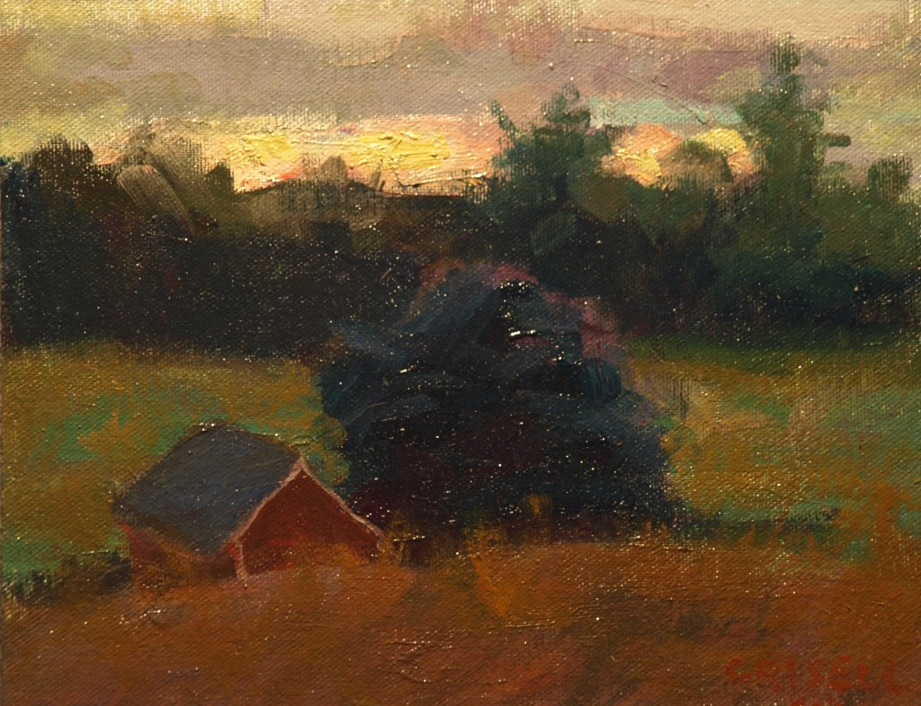 Sunset, Fort Hill, Oil on Canvas on Panel, 8 x 10 Inches, by Susan Grisell, $150