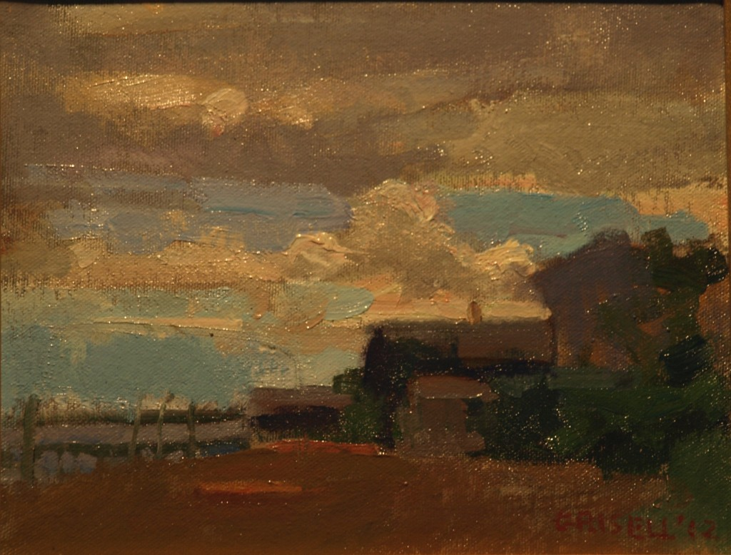 Beach and Clouds, Oil on Canvas on Panel, 8 x 10 Inches, by Susan Grisell,$150